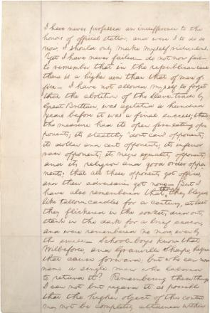 Abraham Lincoln's notes for a speech on the abolition of slavery, ca. 1858. (GLC05302)