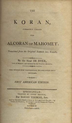 First American edition of the Koran, 1806 (Gilder Lehrman Collection)