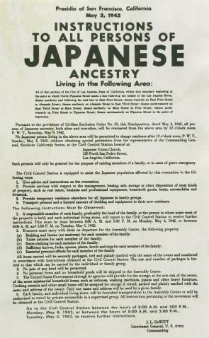 Notice of relocation for Persons of Japanese Ancestry, 1942. (Gilder Lehrman C