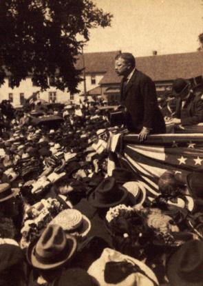 Theodore Roosevelt giving a speech in Waterville, Maine, 1902. (GLC06449.22)