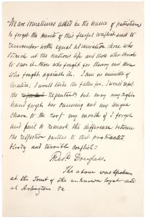 "the merits of this fearful conflict"" douglass on the causes of  quote written out by frederick douglass ca 1880 recalling speech given 30"