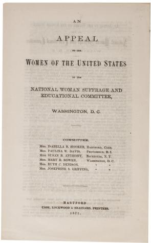 "reconstruction and the battle for w suffrage the gilder  ""an appeal to the women of the united states"" washington dc 1871"