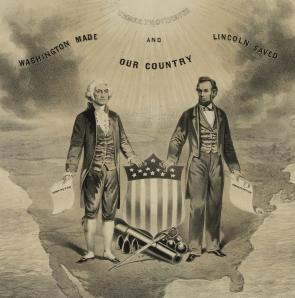 """National picture: Behold oh! America, your sons . . ."" 1865. (LC-DIG-pga-04149)"