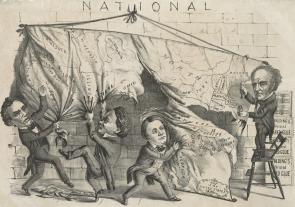 [Dividing the] National [Map]. [Cincinnati], 1860. (LC-DIG-ppmsca-33122)