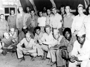 African American and white soldiers during World War II at a heavy bomber base i