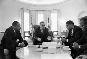 Lyndon Johnson meeting with civil rights leaders, January 18, 1964. (LBJ Library)