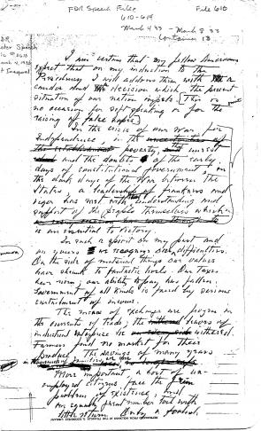 fdr s first inaugural address the gilder lehrman institute of  fdr master speech file file 0610 first inaugural courtesy of the