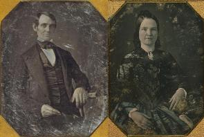 Daguerreotypes of Abraham and Mary Todd Lincoln, by Nicolas H. Shepherd, ca. 1846.