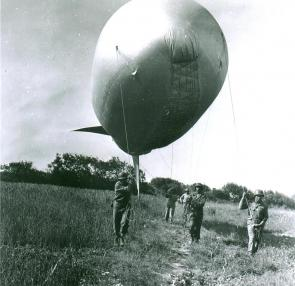 The 320th Barrage Balloon crew in action on Omaha Beach, June 1944. (National Archives)