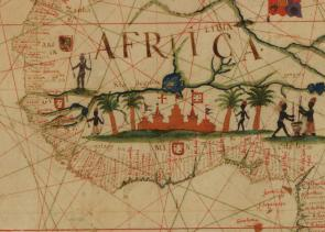 Detail of El Mina from a portolan chart of the Atlantic Ocean published in 1633. (Library of Congress, Geography and Map Division)