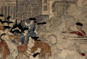 "Detail from ""The Bloody Massacre"" (1770) by Paul Revere. (The Gilder Lehrman Institute of American History)"