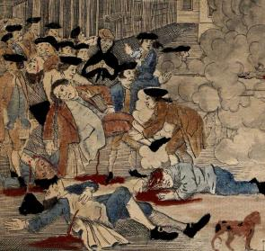 "Detail of Crispus Attucks' death from ""The Bloody Massacre"" by Paul Revere, 1770. (Gilder Lehrman Collection)"