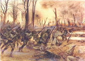 An Army artist's rendering of the 369th in action at Séchault, France, during the Meuse-Argonne Offensive, September 29, 1918. (US Army)