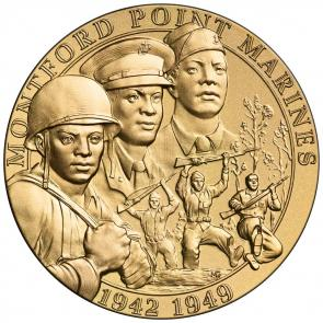 "Montford Point Marines Bronze Medal issued in 2011. ""For outstanding perseverance and courage that inspired social change in the Marine Corps"" is engraved on the reverse. (Courtesy US Mint)"