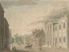 """Bank of the United States, with a View of Third Street Philadelphia"" (The Miriam and Ira D. Wallach Division of Art, Prints and Photographs: Print Collection, New York Public Library Digital Collections)"