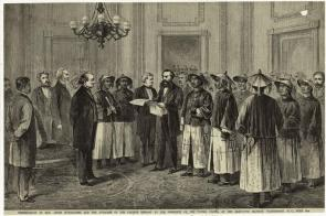 """Presentation of Hon. Anson Burlingame and the attaches of the Chinese embassy . . . June 5th,"" 1868. (Art and Picture Collection, The New York Public Library)"