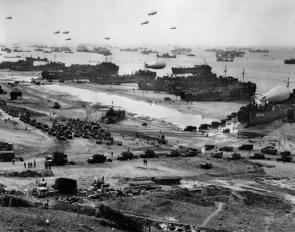 Barrage balloons float over Omaha Beach, June 7, 1944. (National Archives)