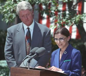Ruth Bader Ginsburg with President Clinton, 1993 (William J. Clinton Library)