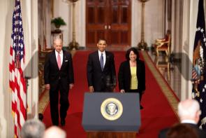 Sonia Sotomayor with President Obama and Vice President Biden, 2009 (Obama Presidential Library)