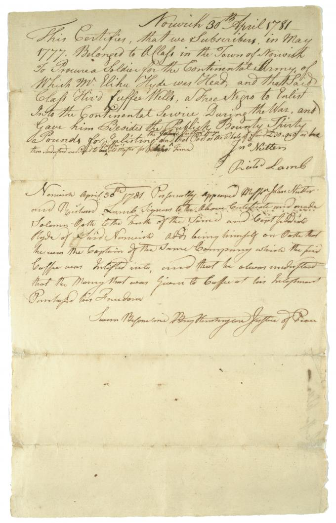 Benjamin Huntington, Certifies Cuffee Wells's purchase of freedom, April 30, 178