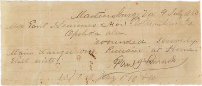 Paul Semmes to Emily Semmes, July 9, 1863. (Gilder Lehrman Collection)