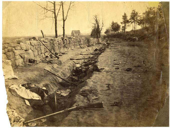 Confederate wall at Marye's Heights, Fredericksburg, Virginia, circa 1863. (Gilder Lehrman Collection)