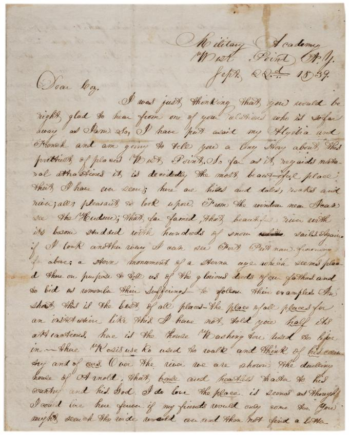 Ulysses S. Grant to R McKinstrey Griffith, September 22, 1839. (Gilder Lehrman Co