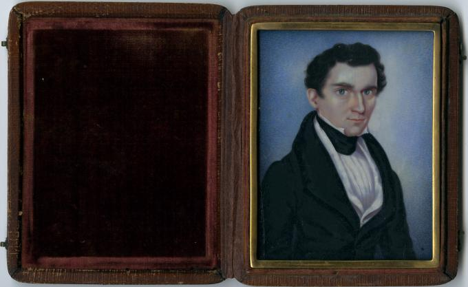 Miniature portrait of Franklin Pierce, attributed to Moses B. Russell, circa 1835.