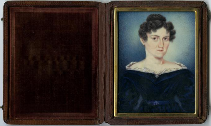 Miniature portrait of Jane Pierce, attributed to Moses B. Russell, circa 1835.