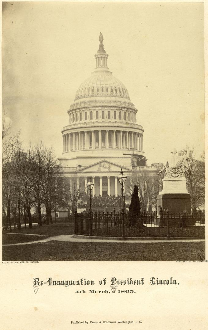 The US Capitol during Lincoln's second inauguration, Washington, DC, 1865.  (The