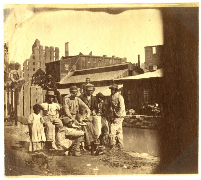 Former slaves near the canal in Richmond, Virginia, 1865. (GLC05111.01.1038)