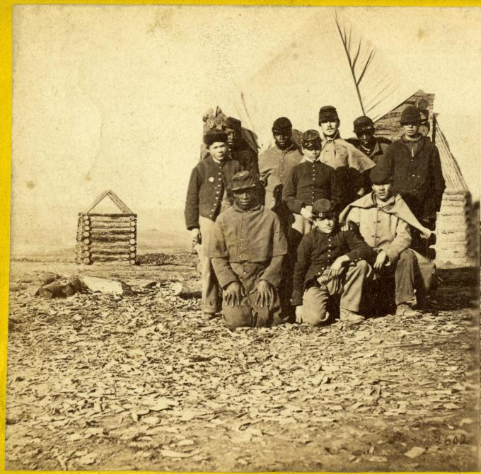 Soldiers from the Army of the James, Point of Rocks, VA, 1864–5.  (GLC05137.005)