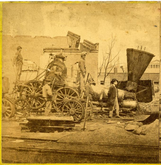 Petersburg Railroad Depot, Richmond, Virginia ,1865. (GLC05137.130)