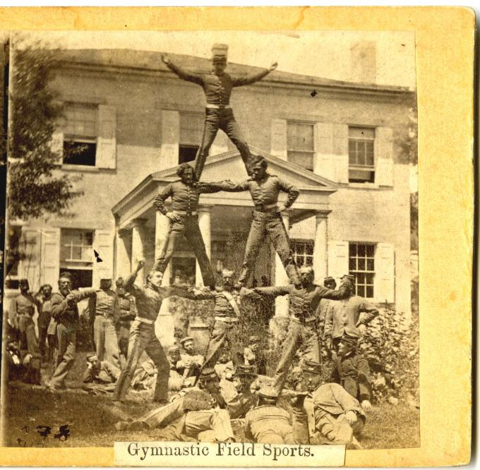 The Human Pyramid, Gymnastic Field Sport, ca. 1861–1865.  (GLC05137.194)