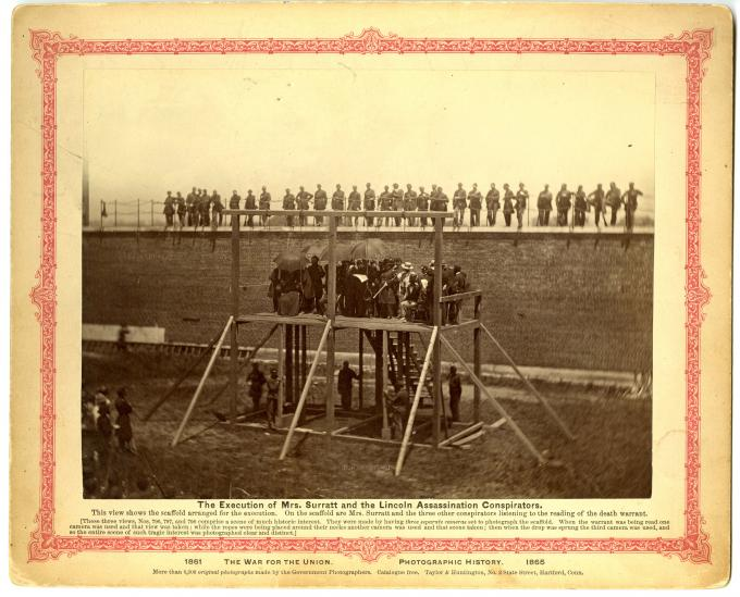 Execution of the Lincoln assassination conspirators, Washington, DC, 1865.  (GLC)