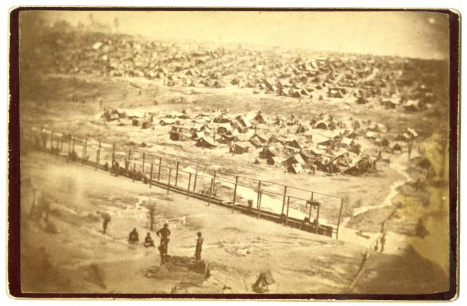 Andersonville prison seen from the guard tower, Andersonville, Georgia, 1864 (GLC)