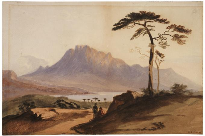 Landscape watercolor painted by Grant as cadet at West Point, circa 1842. (The G