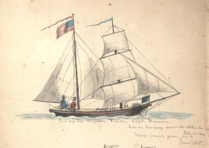 The one ton Brigantine Vision, July 1864. (Gilder Lehrman Collection)