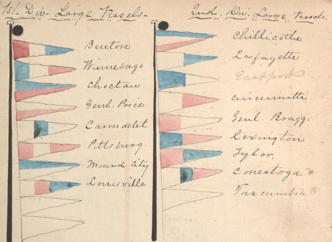 Identification pennants of the Mississippi Squadron, ca. 1864. (Gilder Lehrman Collection)