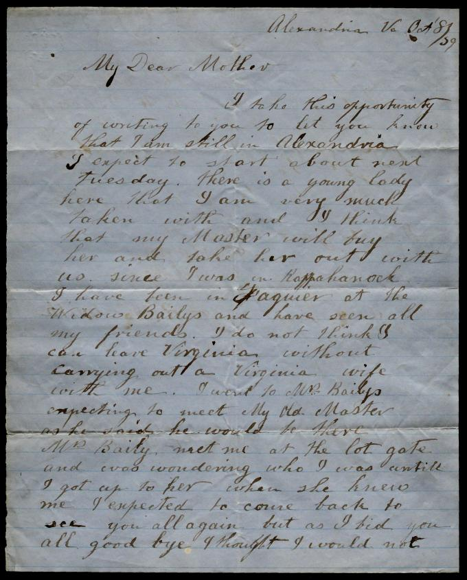 First page of a letter from an unidentified slave to his mother, October 8, 1859