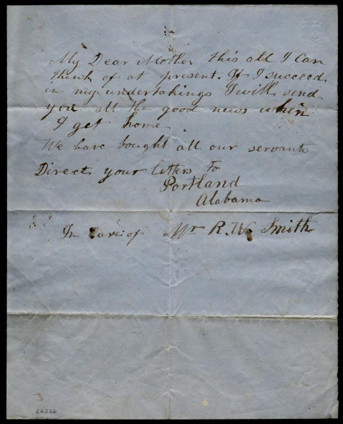 Second page of a letter from an unidentified slave to his mother, October 8, 185