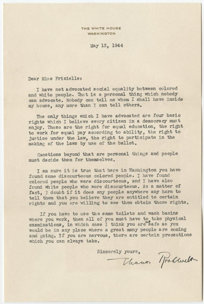 Eleanor Roosevelt to Addie Frizielle, May 13, 1944. (GLC09544)