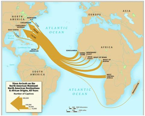 Slave Arrivals on the North American Mainland, map, Atlas of the Transatlantic S