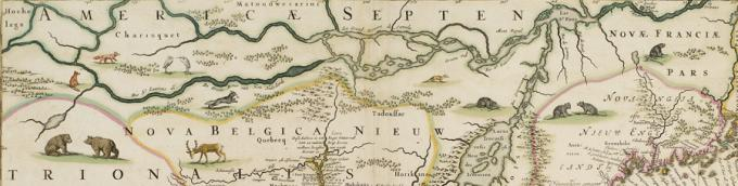 Detail from a 1682 map of North America, Novi Belgi Novaeque Angliae, by Nichola