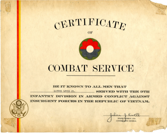 Certificate of Combat Service issued to Louis Raynor upon his honorable discharg