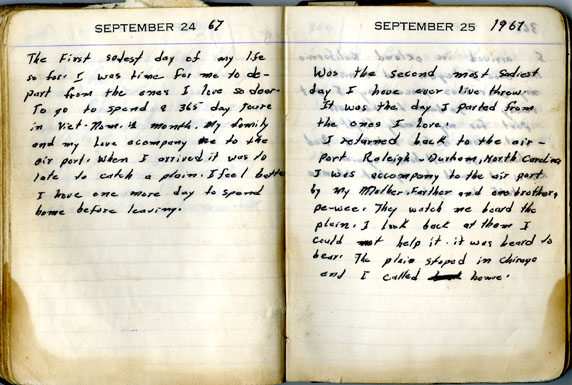 The first entries in Louis Raynor's Vietnam War diary, September 24-25, 1967.