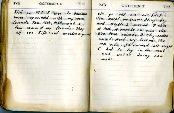 Louis Raynor's diary entries for October 6 and 7, 1967.