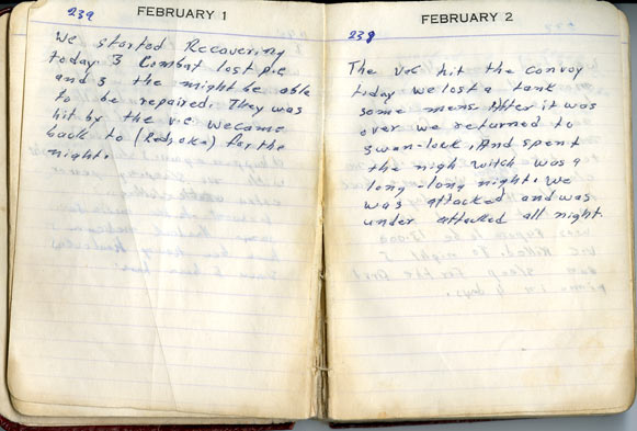 Louis Raynor's diary entries for February 1 and 2, 1968.