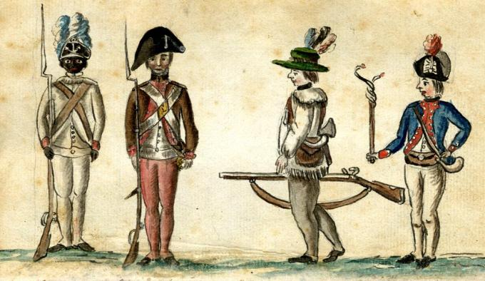Soldiers at the siege of Yorktown, including an African American soldier of the 1st Rhode Island Regiment, by Jean-Baptiste-Antoine DeVerger, 1781. (Anne S. K. Brown Military Collection, Brown University)