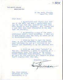 Harry S. Truman to Dean Acheson, March 31, 1950. (GLC00782.22)